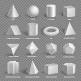 Collection géométrique de base des formes 3D avec des noms illustration de vecteur