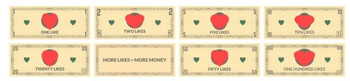 Fake money set vector illustration