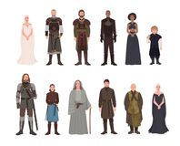 Collection of Game of Thrones fantasy novel and television adaptation male and female fictional characters. Gorgeous men. And women isolated on white background stock illustration