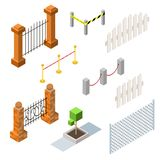 Set of vector isometric fences and hedges Stock Images