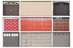 Collection of garage doors Stock Image