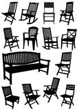 Collection of garden chairs and benches silhouettes Royalty Free Stock Image