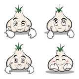 Collection garlic cartoon character set. Vector illustration Royalty Free Stock Photography