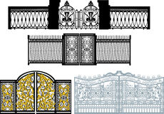 Collection of gates on white vector illustration