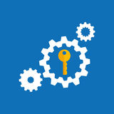 collection gear security lock icon design blue background Stock Photo