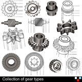 Collection of gear types Stock Photography