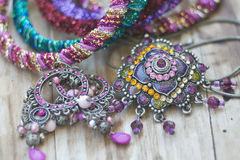 Collection of gemstone jewelery with stones, necklaces, Stock Images