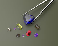 Collection of gemstones. 3D illustration royalty free stock image