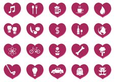 Collection of general icons in hearts. Vector illustration decorative design