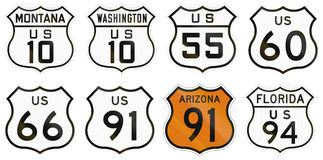 Collection of general United States Route shields.  vector illustration