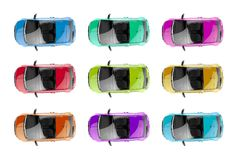 Collection of generic colorful city cars Royalty Free Stock Photos