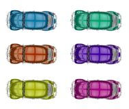 Collection of generic colorful old cars. On a white background Royalty Free Stock Photography