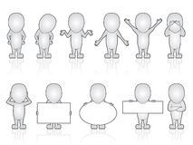 Collection of generic person in various poses Royalty Free Stock Images