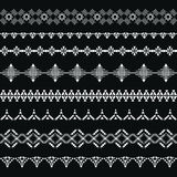 Collection of geometric borders for tribal design. Stock Photo