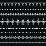 Collection of geometric borders for tribal design. Royalty Free Stock Photography