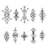 Collection of geometric borders for tribal design. Royalty Free Stock Photo