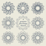 Collection of geometric floral design elements Stock Photography