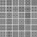 A collection of 36 geometric greyscale monochromatic seamless patterns made of rounded square shapes, vector illustration Royalty Free Stock Photo