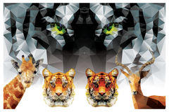 Collection of geometric polygon animals, tiger, giraffe Royalty Free Stock Images