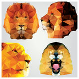 Collection of 4 geometric polygon lions, pattern design Royalty Free Stock Photos