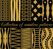Collection of geometric seamless patterns in art deco style. Stock Images