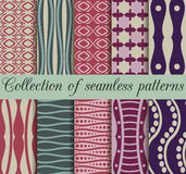 Collection of geometric seamless patterns in retro colors. Vector illustration Royalty Free Stock Photo