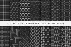 Collection of geometric seamless vector patterns. Symmetric minimal design. Repeatable backgrounds in swatches panel royalty free illustration