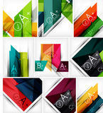Collection of geometric shaped line backgrounds Royalty Free Stock Images