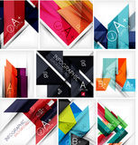 Collection of geometric shaped line backgrounds Royalty Free Stock Photos