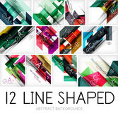 Collection of geometric shaped line backgrounds Stock Image