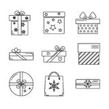 Collection of gift box icons Stock Photography