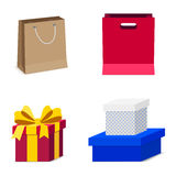 Collection of Gift Box with Ribbon and shopping bag isolated Royalty Free Stock Photos
