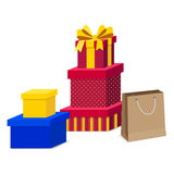 Collection of Gift Box with Ribbon and shopping bag isolated Royalty Free Stock Photo