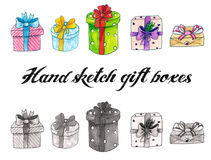 Collection of gift boxes. Collection of hand drawn gift boxes isolated on white Stock Photos