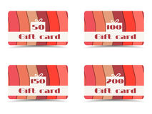 Collection of gift cards. Gift card with paper waves. Vector. Royalty Free Stock Images