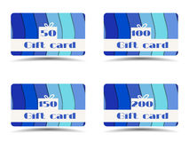 Collection of gift cards. Gift card with paper waves. Stock Image