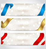 Collection of gift cards with ribbons Royalty Free Stock Images