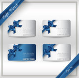 Collection of gift cards with ribbons. Stock Photo