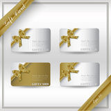 Collection of gift cards with ribbons. Royalty Free Stock Photography