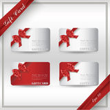 Collection of gift cards with ribbons. Royalty Free Stock Images