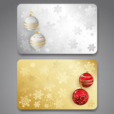 Collection of gift cards with ribbons. Vector. Collection of gift cards with christmas balls. Vector background Stock Image