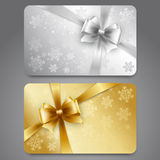Collection of gift cards with ribbons. Vector. Collection of gift cards with snowflakes and  ribbons. Vector background Stock Photos