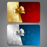 Collection of gift cards with ribbons. Vector. Collection of gift cards with snowflakes and  ribbons. Vector background Stock Photography