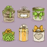 Collection of gift present boxes with bows royalty free illustration