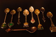 Collection of gift spoons from different countries. Collection of spoons from different countries Stock Photos