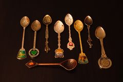 Collection of gift spoons from different countries. Collection of spoons from different countries Stock Images