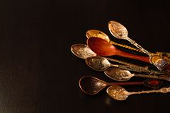Collection of gift spoons from different countries. Collection of spoons from different countries Royalty Free Stock Photos
