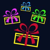 Collection of gifts on a black background Stock Image