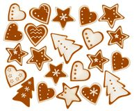Collection of gingerbread cookies. Stock Images