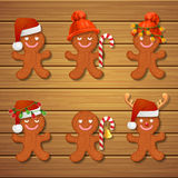 Collection of gingerbread man Christmas cookies Royalty Free Stock Image